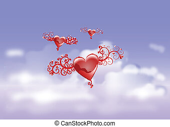 HEARTS IN SKY BACKGROUND