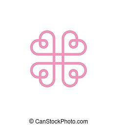 Hearts in the form of a logo mark monogram style flat