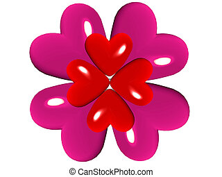 Hearts in the shape of a flower
