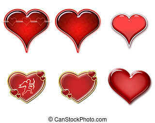 Hearts isolated - Illustration of red hearts isolated on...