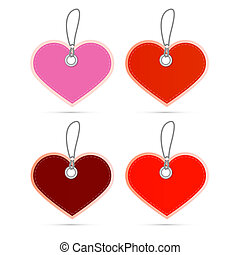 Hearts Labels on Strings Set