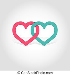 Hearts linked vector illustration
