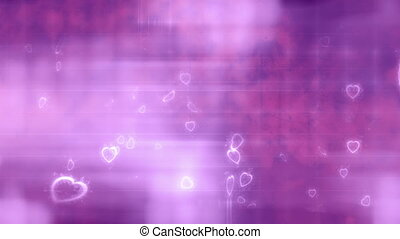 Hearts love background in purple white and pink loop