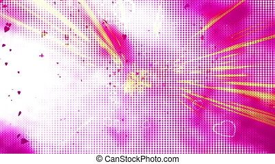 Hearts love light show animated looping background -...