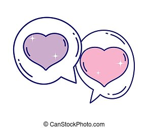 hearts love romantic speech bubbles design