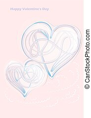 hearts metall shape on a pink background