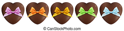 hearts of chocolate with bow isolated on white background