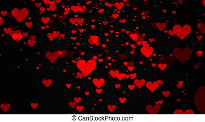 Hearts on black background