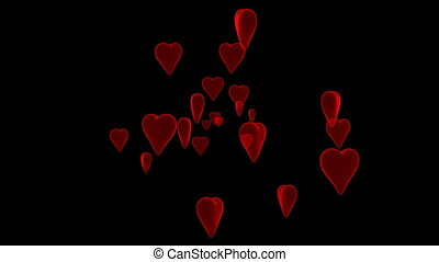 Hearts on black - Many 3D hearts on black background.