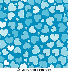 Hearts on blue, seamless pattern