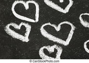 Hearts on Chalk Board
