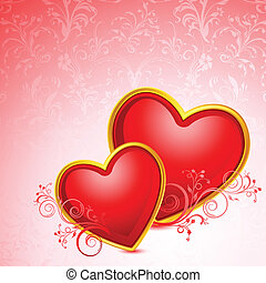 Hearts on FLoral Background