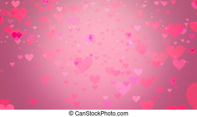 Hearts on pink background