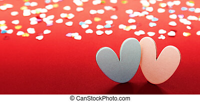 Hearts on red background for valentines day