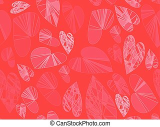 Hearts on red seamless pattern. Vector illustration.