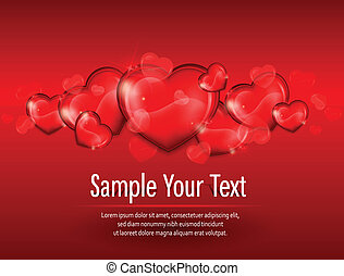 Hearts on red & text