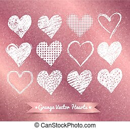 Hearts on rose gold background