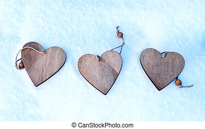 Hearts on the Christmas tree, snow, winter, Valentine's day in the Park