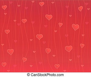 Hearts on the thread, red background
