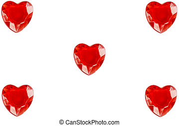 Hearts on white paper with copy space