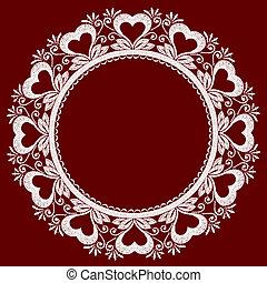 hearts., openwork, gräns, spets, runda