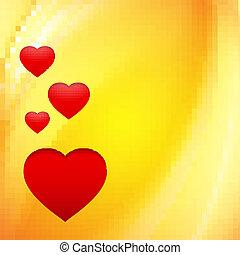 Hearts over orange.