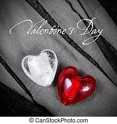 Hearts over Textile Valentine's Day Card