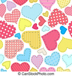 Seamless pattern for Valentine's Day with patchwork hearts