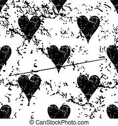 Hearts pattern grunge, monochrome