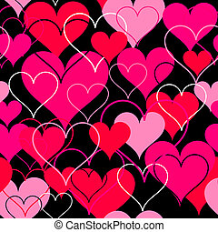 Hearts pink seamless Background. Vector