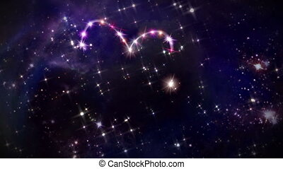 hearts pink star space camera rotation - starry night in...