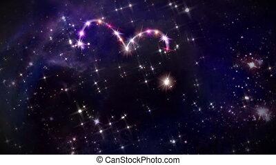 hearts pink star space camera rotation