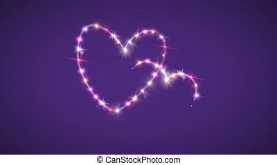 hearts pink star with purple background