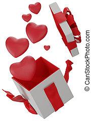 hearts present 3d-illustration