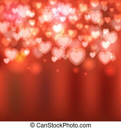 hearts red blurred background
