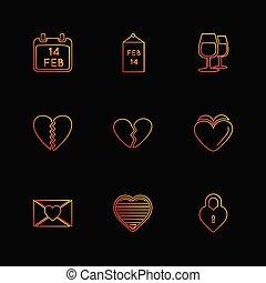 hearts , romantic , love , valentine , rose , flowers , eps icons set vector
