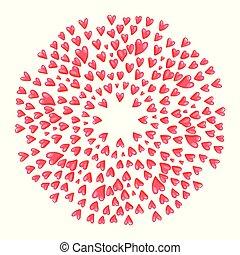 hearts., rosa, redondo, vector, marco, ilustración