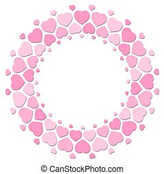 Hearts Round Love Frame Pink Pattern
