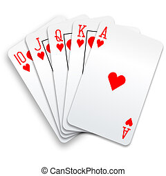 Hearts royal straight flush playing cards poker hand