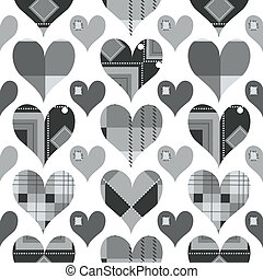 Hearts seamless pattern, black and white with grey shades