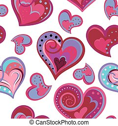 Hearts seamless pattern. Doodle hand draw vector background