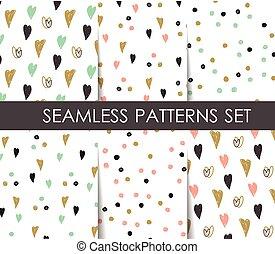 Hearts seamless patterns set.