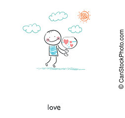 hearts., serbatoio, illustration., presa a terra, uomo