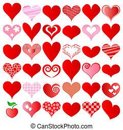 hearts set for wedding and valentine design