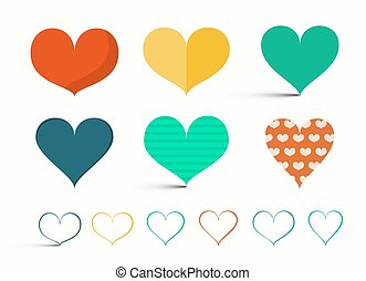 Hearts Set - Retro Vector Heart Illustration Isolated on Light Background