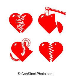 hearts., set, stilizzato, rotto