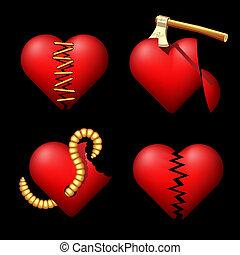 hearts., set, volume, rotto