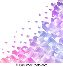 Hearts shape colorful background with white copy space.