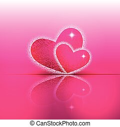 Hearts shapes on colorful background with theirs reflection.
