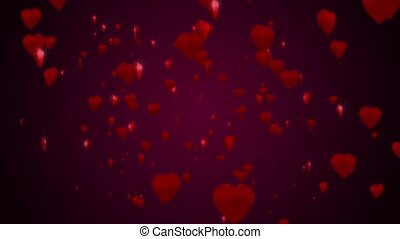 Shiny 3D hearts are falling against a dark purple background.